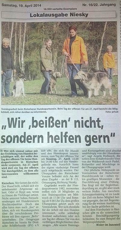Lausitzer Kurier vom 19.04.2014